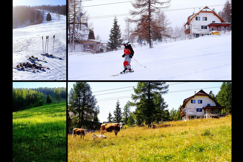 Winter und Sommer ums Ferienhaus Karoline am Hochrindl in Kärnten