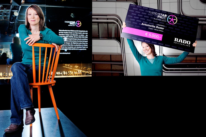 "[:de]Antoinette Bader mit ""Woven Gears"", Gewinnerin des Rado Star Prize 2013[:en]Antoinette Bader with ""Woven Gears"", Winner of Rado Star Prize 2013"