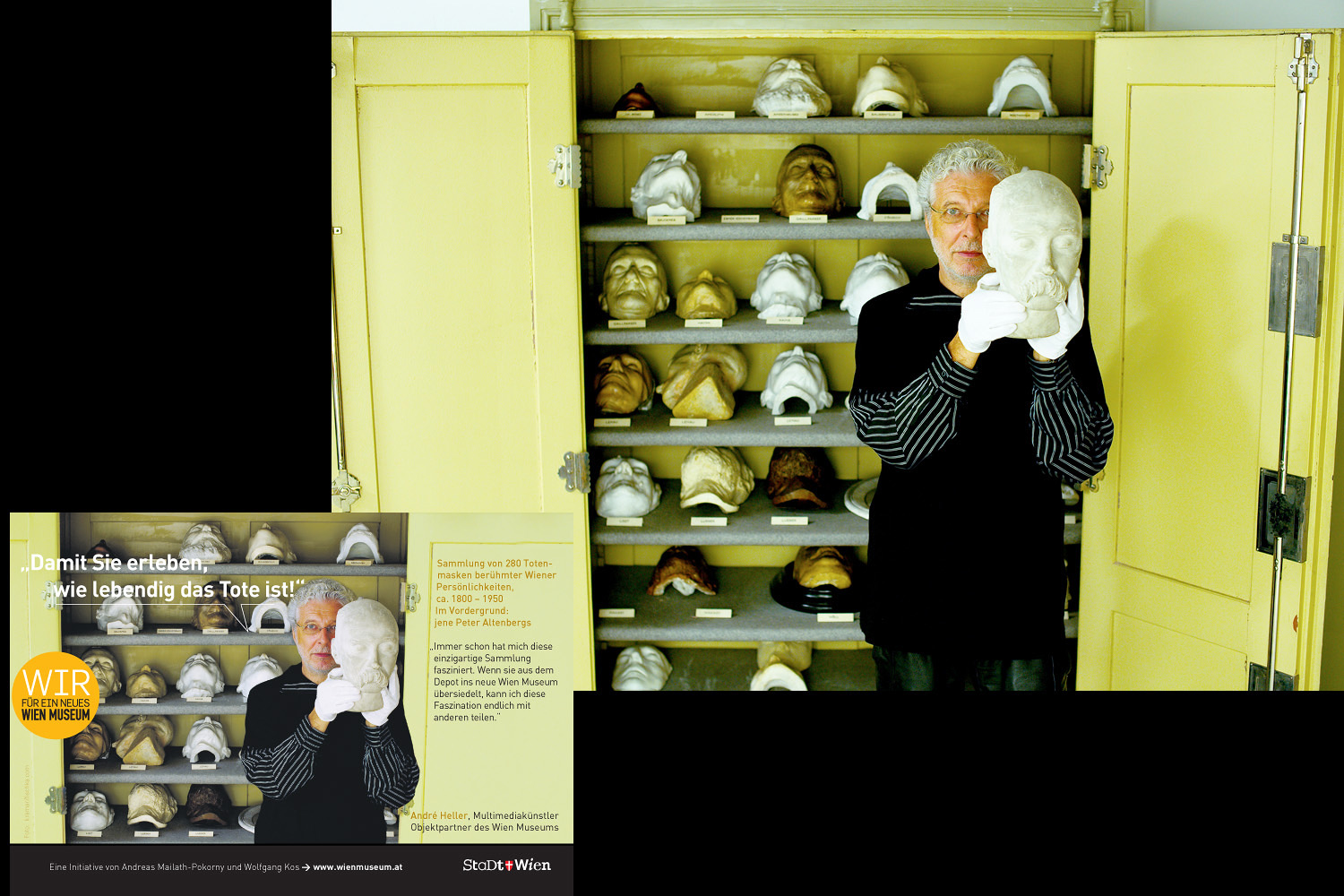 [:de]André Heller mit der Totenmaske von Peter Altenberg für das Wien Museum[:en]André Heller with the death mask of Peter Altenberg for the Wien Museum